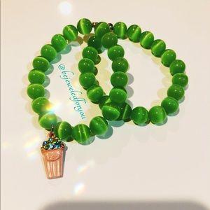 Jewelry - Lime Green Custom Agate Bracelet Set